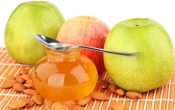 Обои Мед, три яблока, орехи