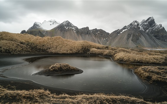 Wallpaper Iceland, mountains, grass, puddle