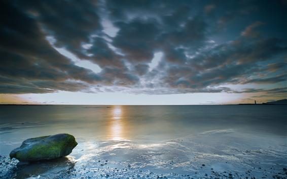 Papéis de Parede Islândia, pedra, musgo, mar, nuvens, pôr do sol