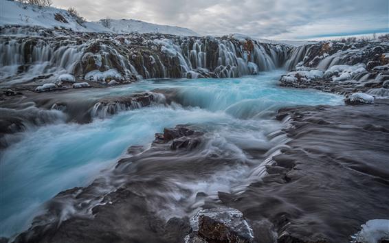 Wallpaper Iceland, waterfall, stream, water, rocks, snow