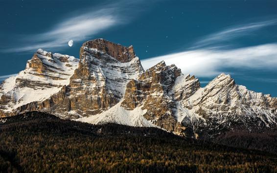 Wallpaper Italy, Veneto, mountains, snow, moon