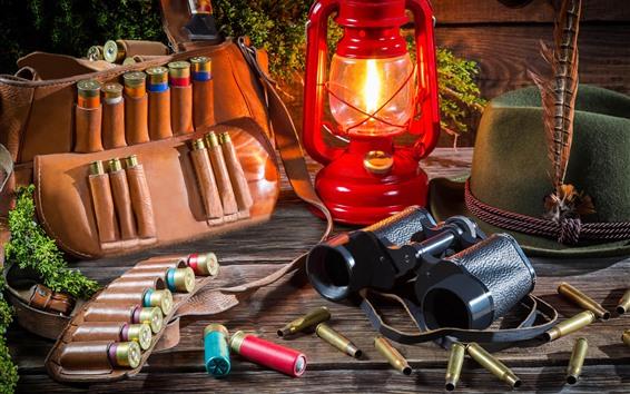 Wallpaper Lamp, ammunition, bag, hat, telescope
