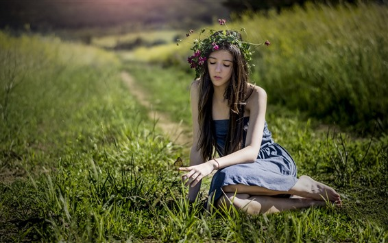 Wallpaper Long hair girl, wreath, skirt, butterfly, grass, summer