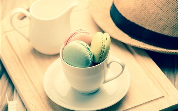 Papéis de Parede Macaron, bolo, colorido, xícara, chapéu