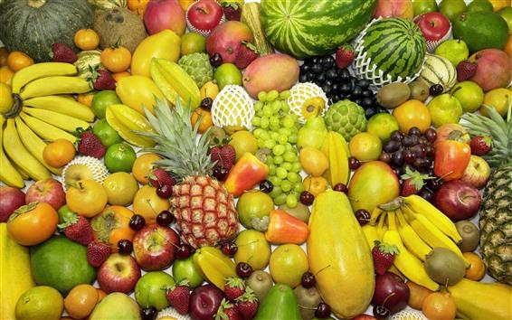 Fond d'écran De nombreux types de fruits, colorés, délicieux