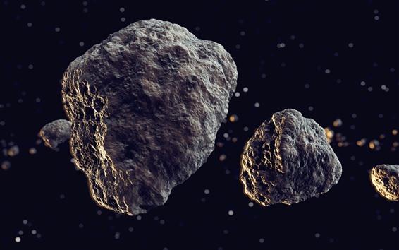 壁紙 流星、岩、宇宙