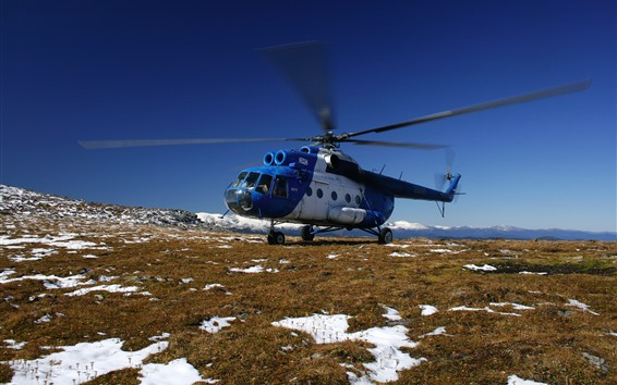 壁紙 Mi-8ヘリコプター、雪、地面