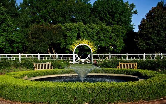 壁紙 ミズーリ植物園、公園、噴水、木、柵、米国