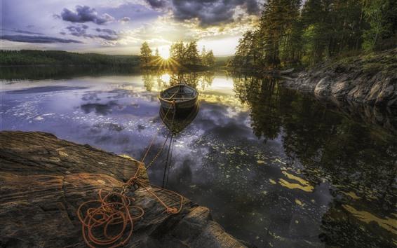 Papéis de Parede Manhã, lago, barco, árvores, nascer do sol, nuvens