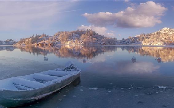 Papéis de Parede Noruega, Rogaland, rio, neve, barco, montanhas, inverno