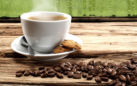 Papéis de Parede Uma xícara de café, biscoitos, grãos de café, janela