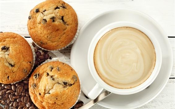 Papéis de Parede Uma xícara de café, cupcakes, comida