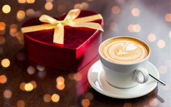 Обои Одна чашка кофе, сердце любви, подарок, романтика
