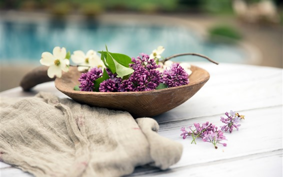 Wallpaper Pink lilac flowers, flowers, wood spoon
