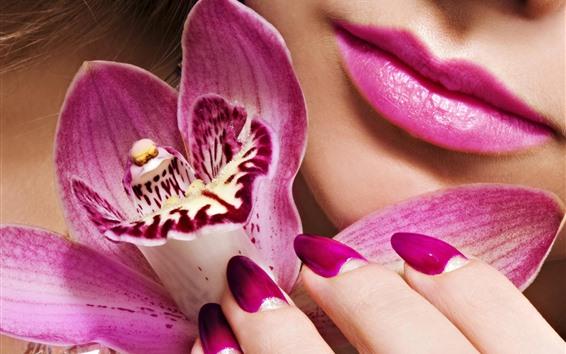 Wallpaper Pink phalaenopsis, petals, girl face, red lip
