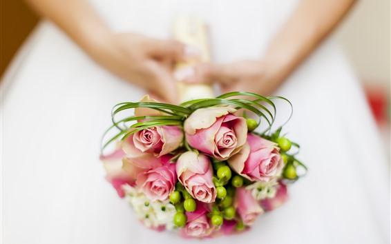 壁紙 ピンクのバラ、花束、手、花嫁