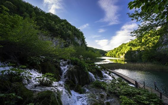 壁紙 プリトヴィツェ湖群国立公園、クロアチア、湖、小川、山、木