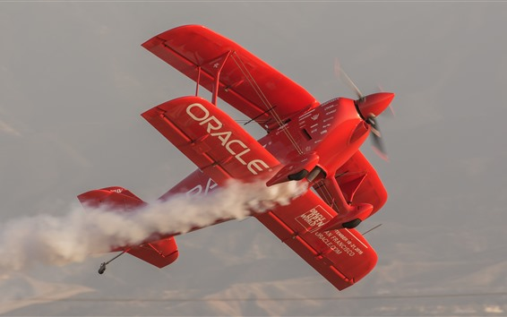 Wallpaper Red plane, aircraft, smoke