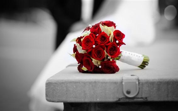 배경 화면 빨간 장미, 꽃다발, 벤치