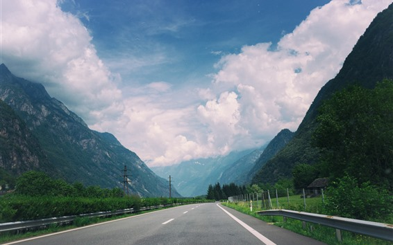 Wallpaper Road, highway, mountains, clouds, fence