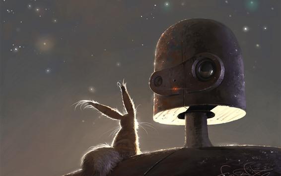 Papéis de Parede Robô e coelho, imagem artística