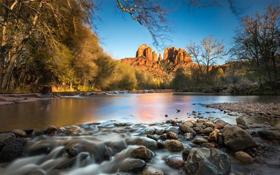 Papéis de Parede Rochas montanha, árvores, pedras, lago, outono