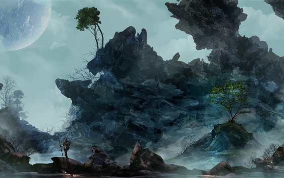 Hintergrundbilder Felsen, Bäume, Mond, Nacht, Kunstbild