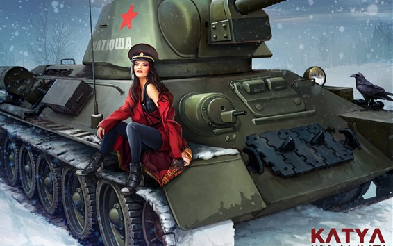 Wallpaper Russian girl, tank, snow, winter, art picture