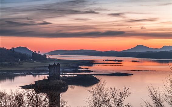 Wallpaper Scotland, lake, sunset, mountains, trees