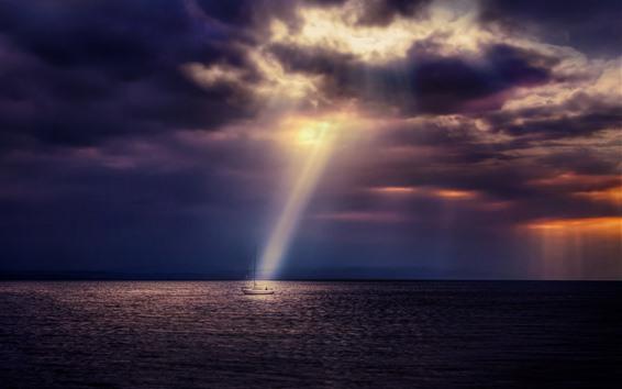 Papéis de Parede Mar, barco, raios de sol, nuvens, crepúsculo