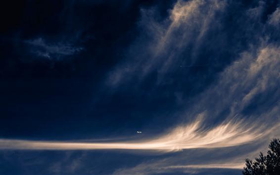 壁紙 空、雲、飛行機の飛行