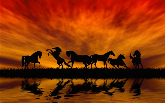 Wallpaper Some horses, silhouette, grass, river, water, sunset, red sky