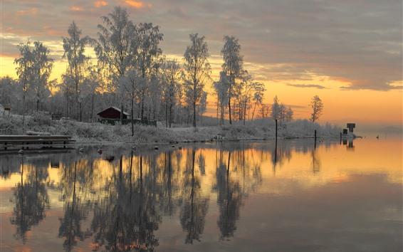 Fondos de pantalla Suecia, nieve, árboles, puesta de sol, río, invierno