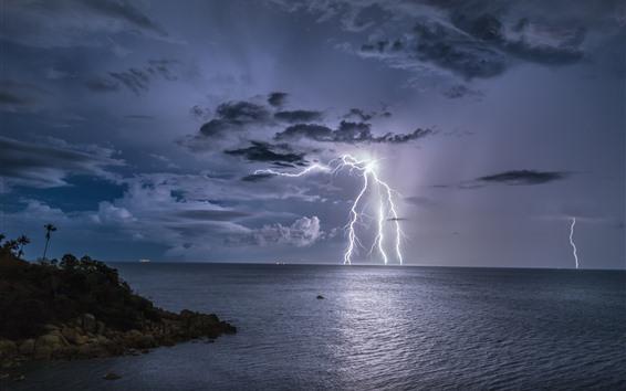 배경 화면 태국, 폭풍, 번개, 바다, 밤, 구름