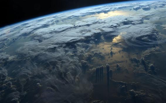 Fondos de pantalla Vista superior de la tierra, nubes, espacio.