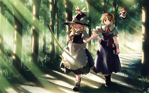 Wallpaper Two anime girls, walking, trees, path, sun rays
