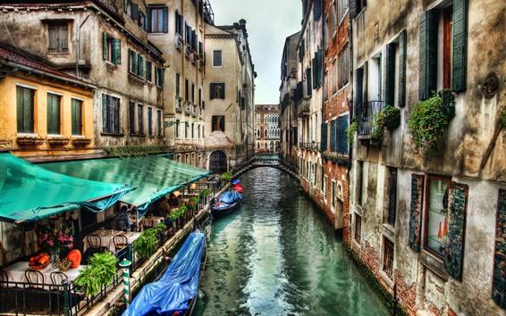 Fondos de pantalla Venecia, Italia, río, café, puente, barcos, casas