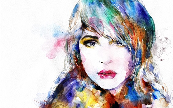 Wallpaper Watercolors, painting, colorful, girl, face