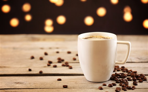 Wallpaper White cup, coffee, coffee beans, hazy