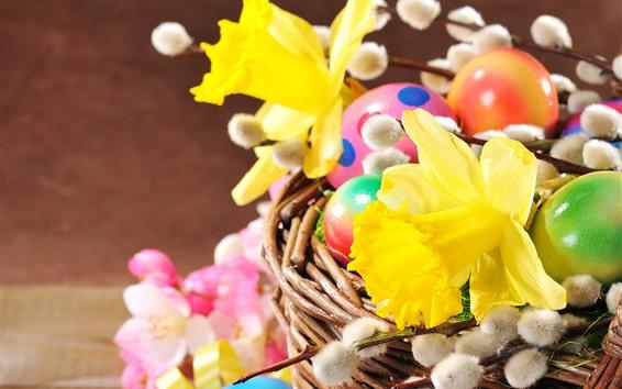 Wallpaper Yellow daffodils, Easter eggs, basket