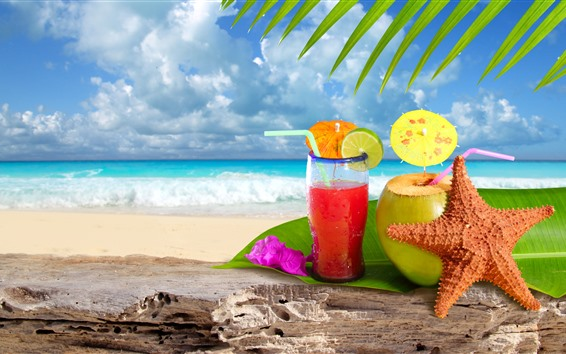 Wallpaper drinks, cocktail, starfish, green leaves, beach, sea