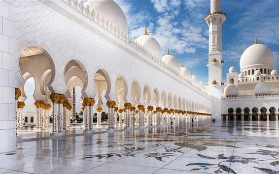 Wallpaper Abu Dhabi, white Mosque, buildings