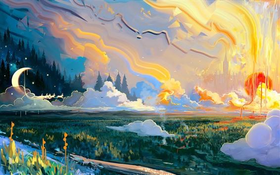 Papéis de Parede Pintura artística, montanha, nuvens, lua, árvores
