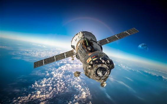 Wallpaper Artificial satellite, spaceship, space, earth, moon