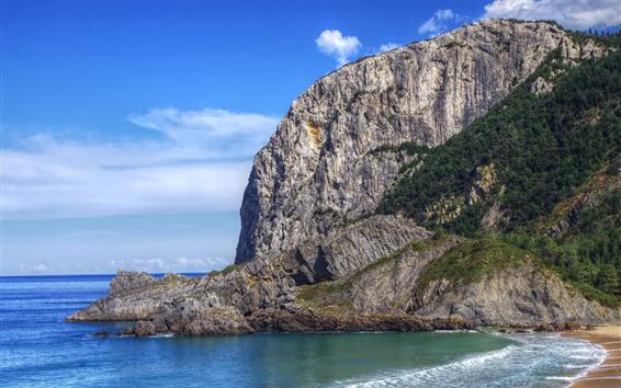 배경 화면 비스 케이 베이, 스페인, 바다, 산, 해변