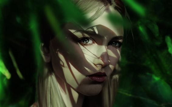 Fond d'écran Portrait de fille blonde, regard, visage, ombre, photo d'art