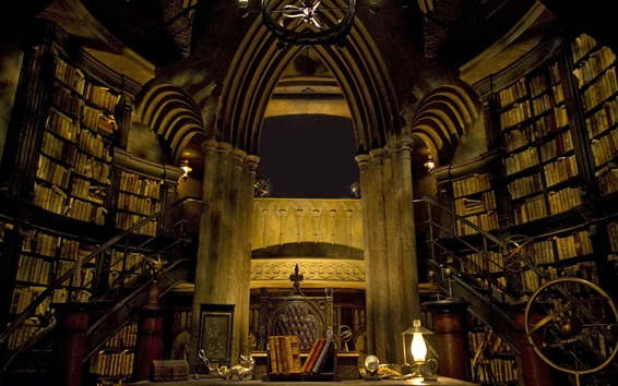 Обои Замок внутри, библиотека, книги