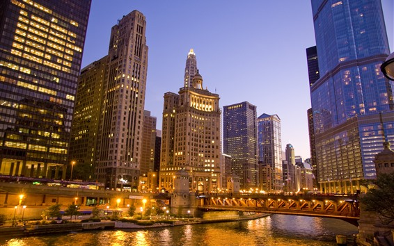 Hintergrundbilder Chicago, Wolkenkratzer, Brücke, Fluss, Lichter, Nacht, USA