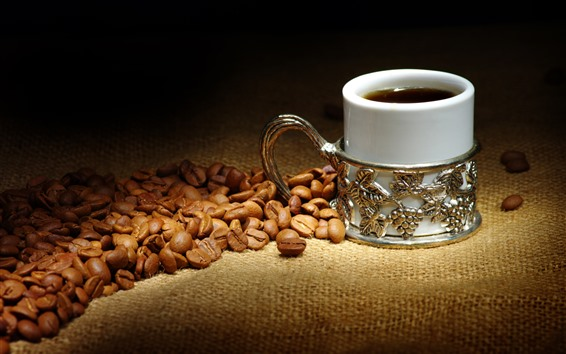 Wallpaper Coffee beans, mug cup