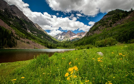 Wallpaper Colorado, mountains, lake, valley, flowers, clouds, USA